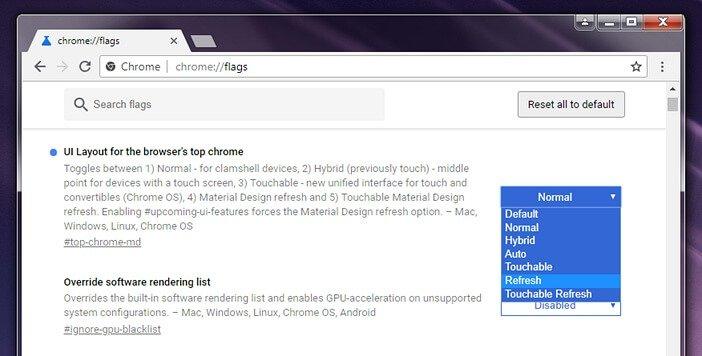 Включить обновлённый дизайн Chrome