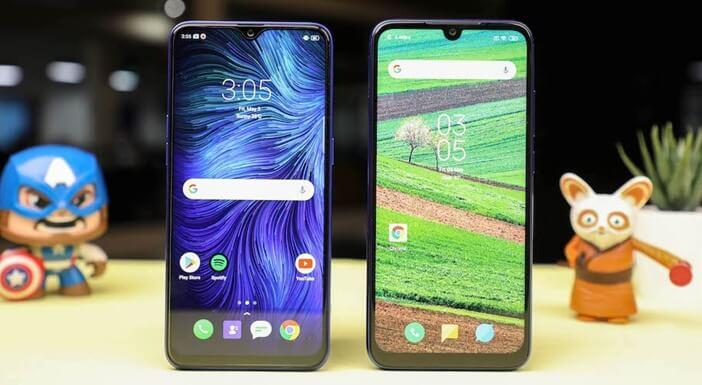 Realme 3 Pro и Redmi Note 7 бок о бок дисплей и рамки