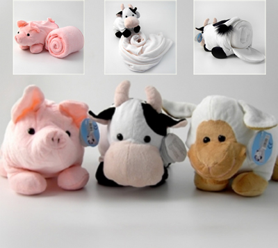 Fleece Blanket With Animal Toy