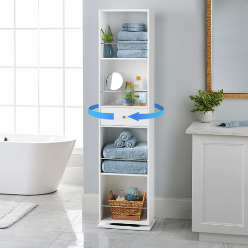 Rotating Mirrored Linen Cabinet