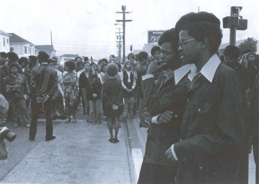 Panthers standing together during funeral