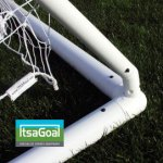 Itsa Goal Posts net support stanchion, locked in place on the rear ground frame. A simple push in with locking buttons. ITSA Goal Posts