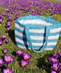 Strandtas blauw plastic recycled eco fairtrade 1121344652102