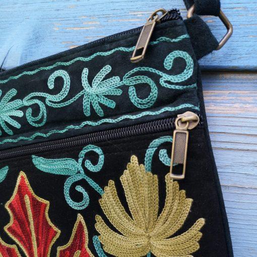 details zwart blauw schoudertasje