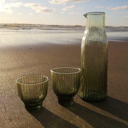 glazen en karaf loodvrij kristal groen