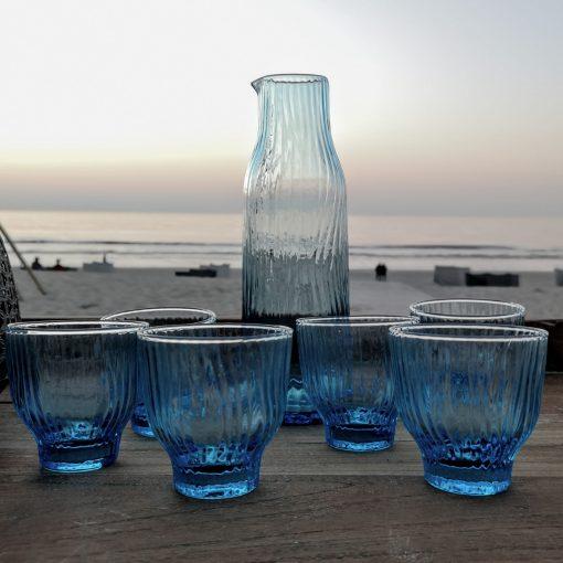 karaf blue glazen