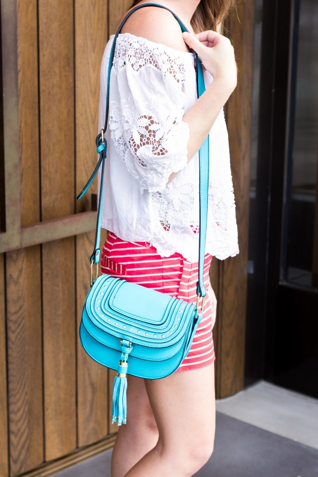 July 4th outfit   Summer Style   Off the shoulder lace top + striped shorts   It's All Chic To Me