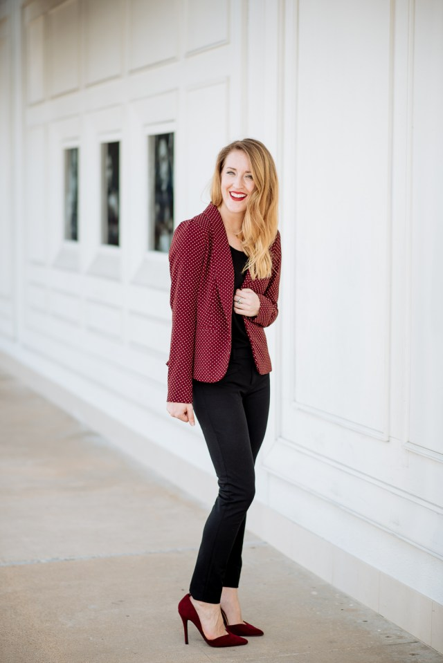 Business casual chic: maroon blazer with all black