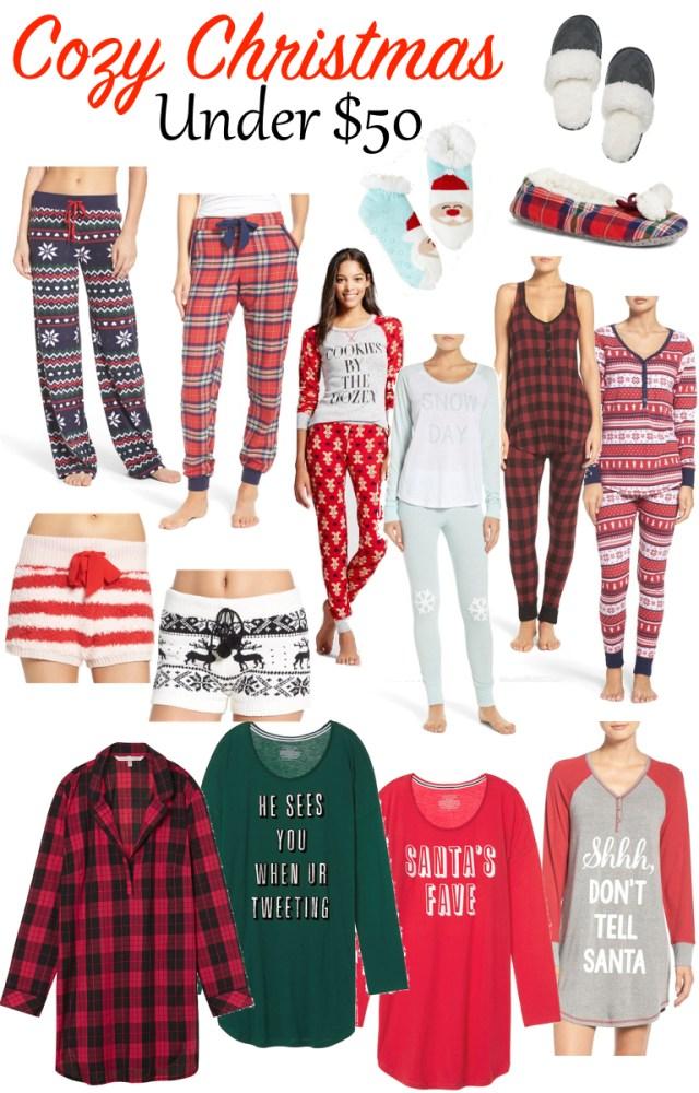 Christmas Pajamas under $50, cute christmas jammies, cozy gift guide