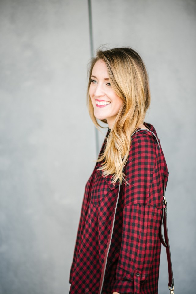 Buffalo plaid + distressed denim + over the knee boots