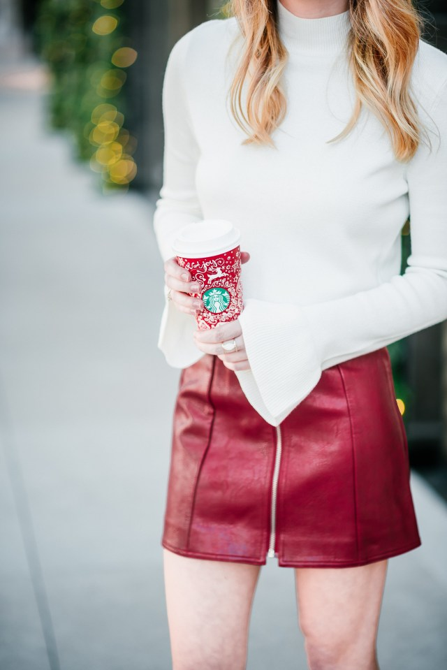 Holiday party look: bell sleeves + leather mini skirts