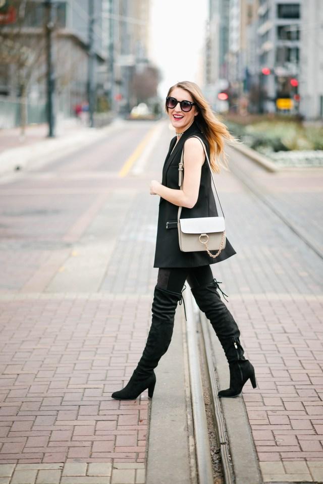 Street style: black vest + leather leggings + OTK boots, black on black , all black everything