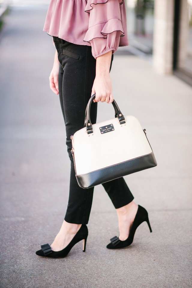 Work Wear Wednesday: frilly, blush top + black slacks + bow pumps + Kate Spade purse | For Love and Lemons frill top