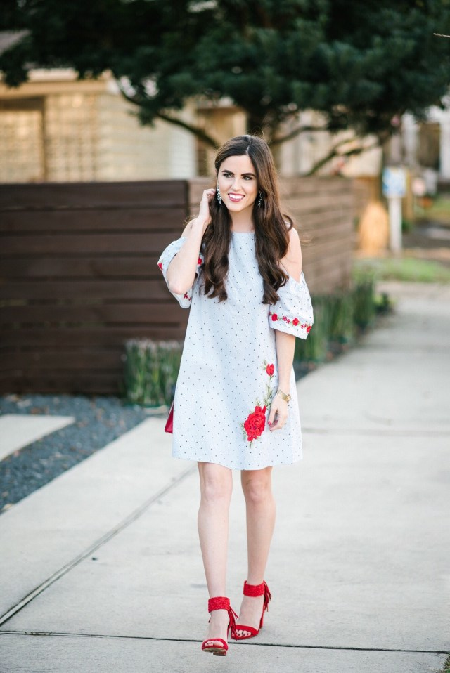Valentine's Day wear: floral dress + red shoes