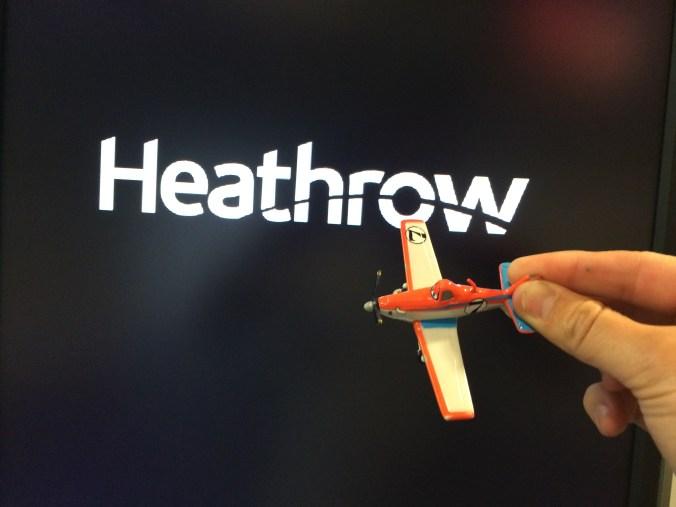We flew to Heathrow