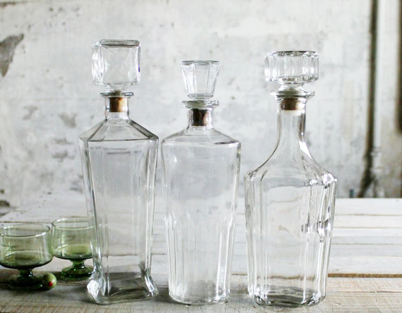 3 Glass Vintage Bottles