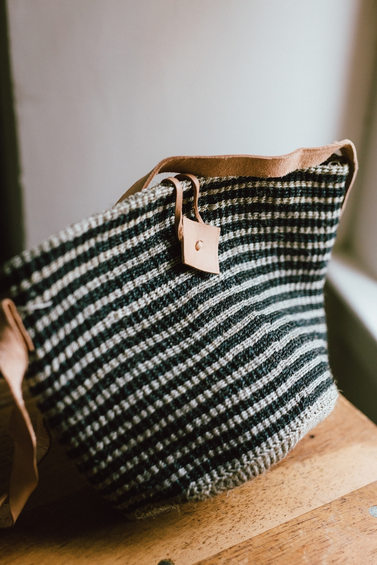 Handwoven bag blue and oatmeal striped from Kenya Shop Grain