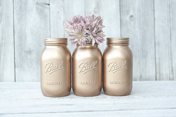 ROSE GOLD MASON JARS KA STYLES MASON JARS $29 USD Set of 3. Great for centrepieces, a herb garden or to store your incense, pencils...