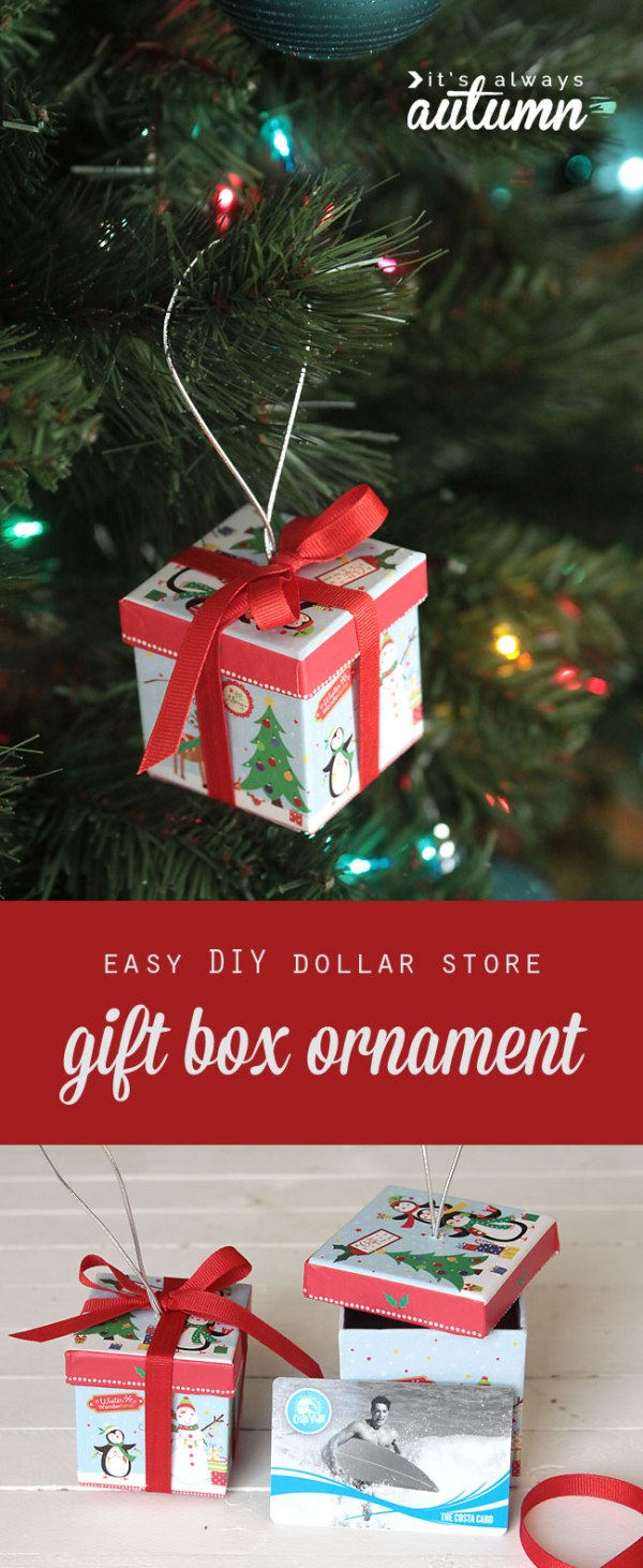 easy DIY gift box Christmas ornaments {from the dollar ...