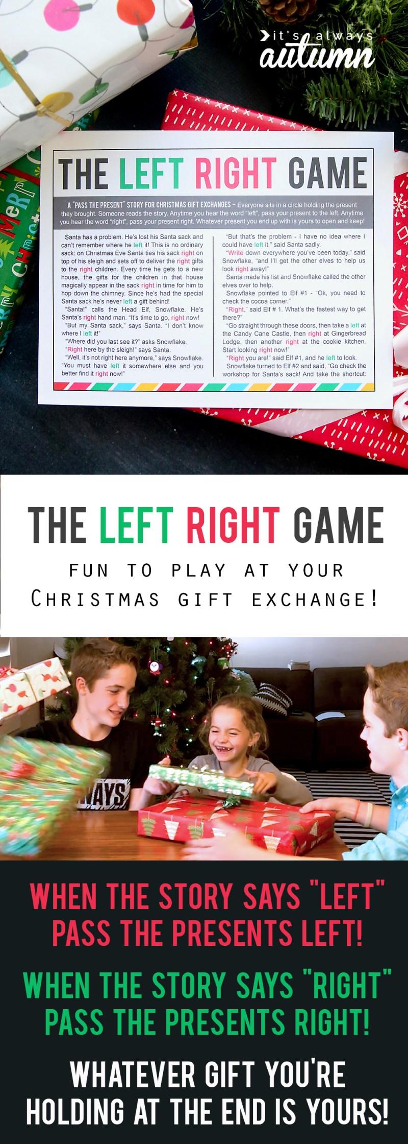 Christmas Gift Exchange Game Left Right Across Story | Dealssite.co