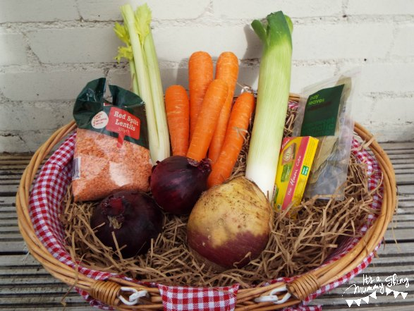 Basket with vegetable soup ingradients