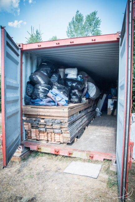 Shipping container packed