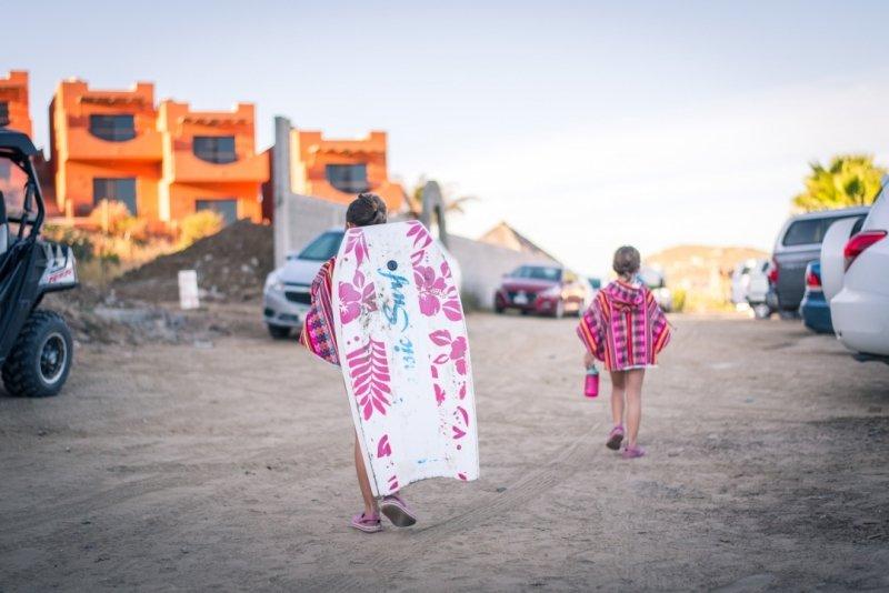 Girls walking to the beach