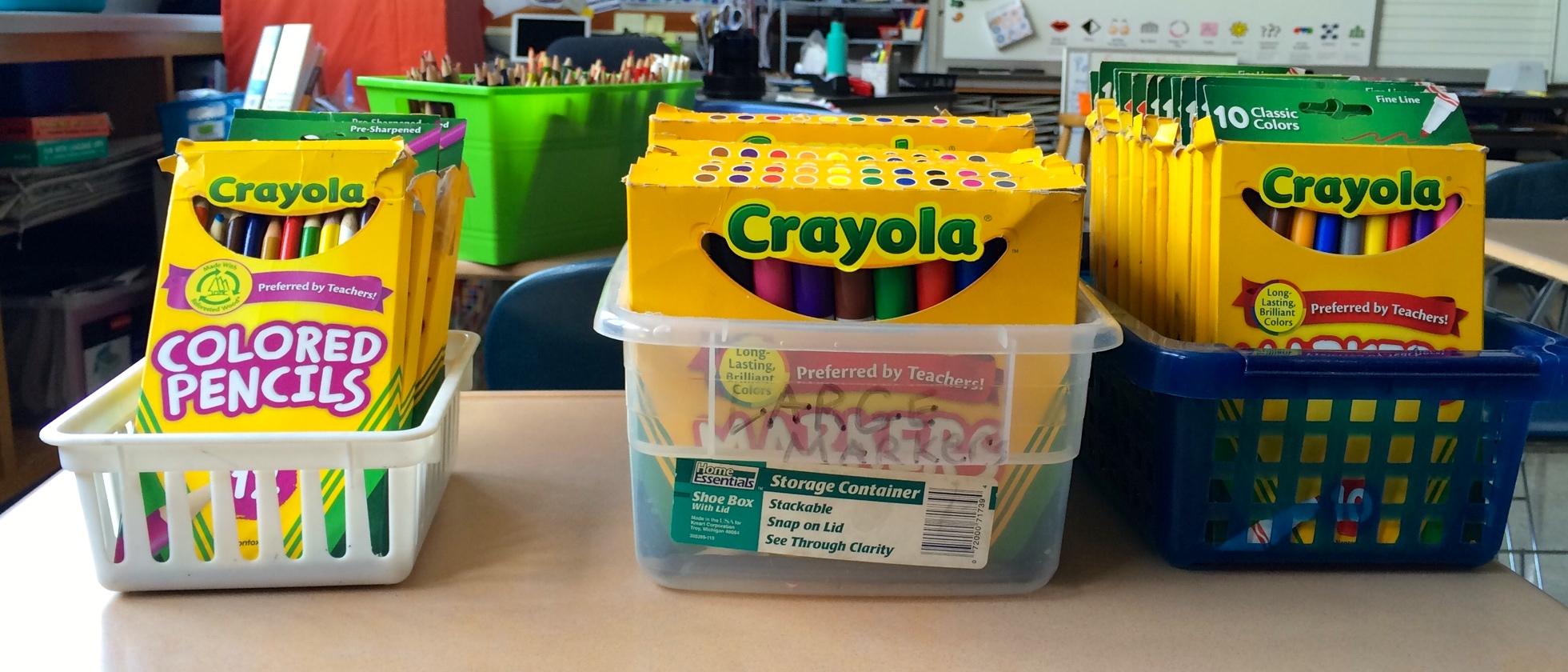 Storing markers for classroom efficiency