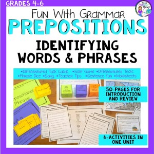 Preposition task cards and unit is a great way to introduce or review prepositions and prepositional phrases.
