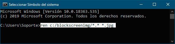 Uso del comando REN para cambiar las extensiones de los archivos