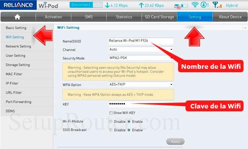 Cambir clave del wifi del wipod