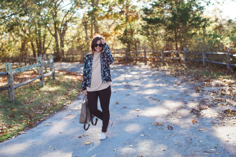 Printed Floral Bomber With Fashionable Backpack