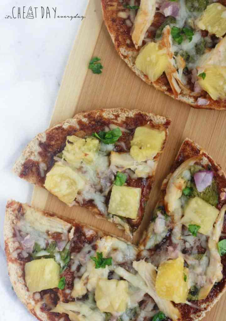 Easy, 186 calorie Hawaiian Barbecue Chicken Pizzas - It's Cheat Day Everyday