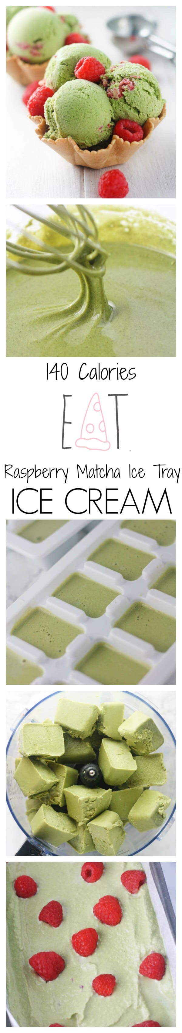 Low calorie, 4 ingredient no churn green tea ice cream that does not include heavy cream or bananas! Super creamy, delicious and guilt free.