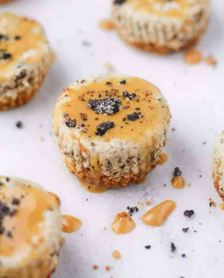 Low calorie mini cheesecakes made with reduced fat cream cheese, Greek yogurt, PB Fit powder and crushed oreos. Guilt free and delicious! www.itscheatdayeveryday.com
