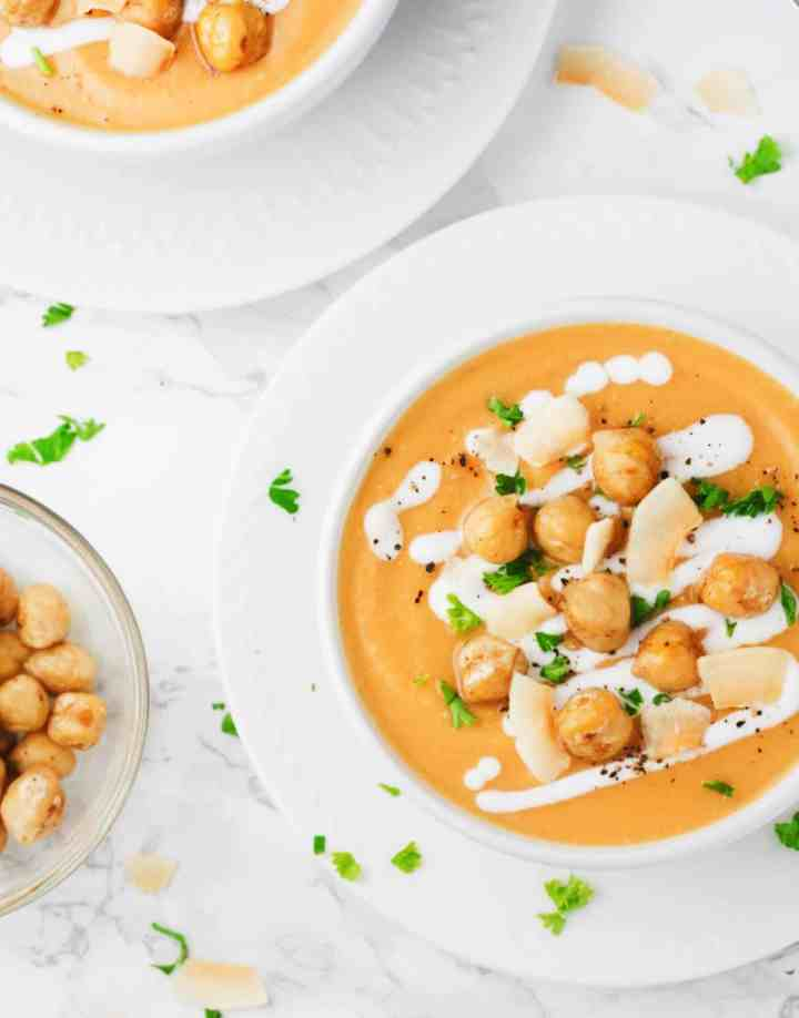 Coconut Chickpea Sweet Potato Soup - a deliciously creamy, super quick clean eating soup that is perfect for the cold days! - www.itscheatdayeveryday.com