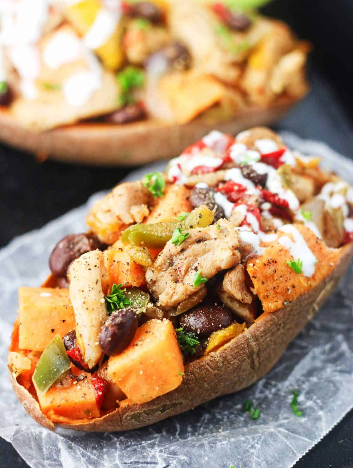 Chicken fajita stuffed sweet potatoes its cheat day everyday these chicken fajita stuffed sweet potatoes allow you to enjoy all of the flavors of a forumfinder Choice Image
