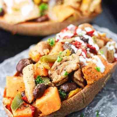 Chicken Fajita Stuffed Sweet Potatoes