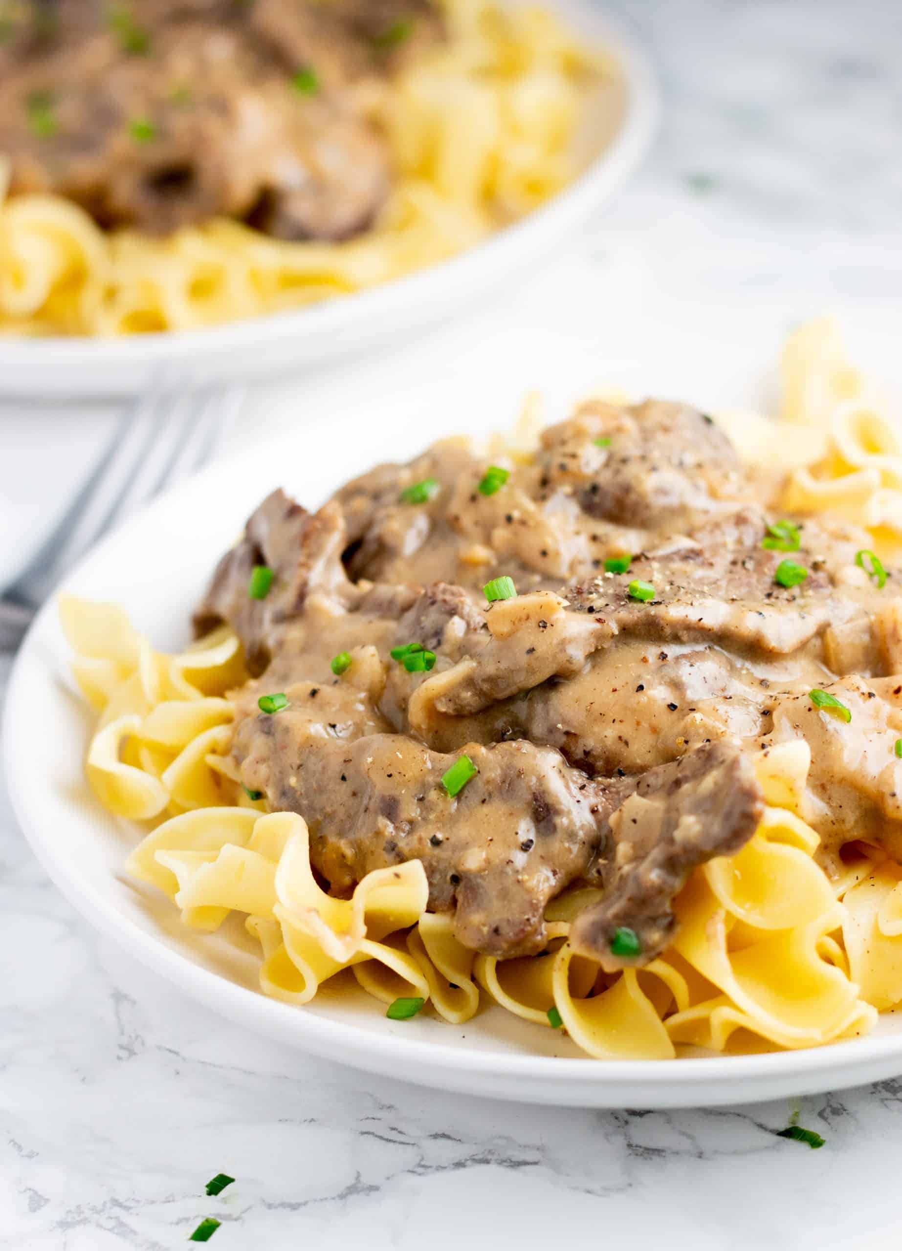 Completed meal for low calorie beef stroganoff recipe