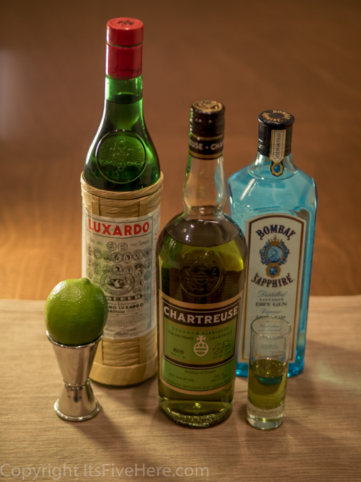 Ingredients for the Last Word, a classic cocktail with Green Chartreuse