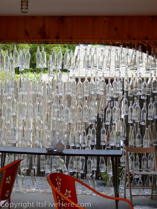 Glass bottle wall at Croteaux