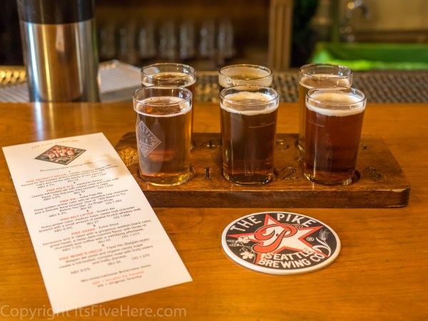 Tasting flight at Pike Pub and Brewery
