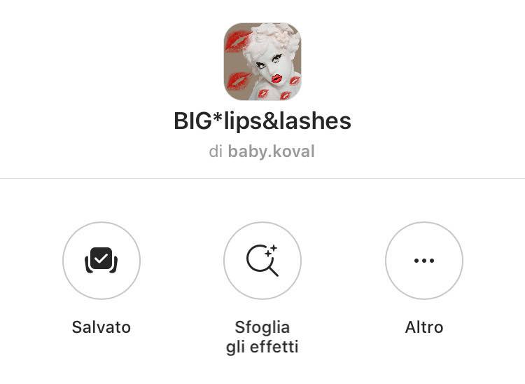 filtro labbra e ciglia instagram