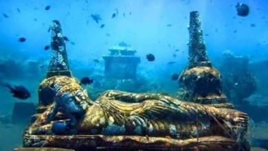 submerged Hindu temple