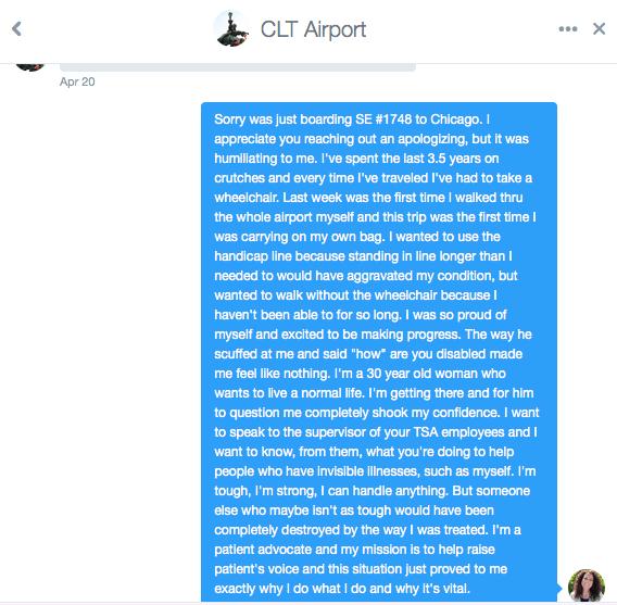 Twitter DM from @CLTAirport