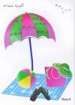 Hand made cards, beach scene, beach hat, beach ball, flip flops