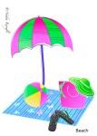 Beach umbrella, greeting card, beach bag, flip flops