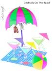 Beach umbrella, cocktails, pink, green, beach ball