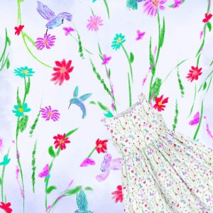 girls pattern with flowers & humming birds