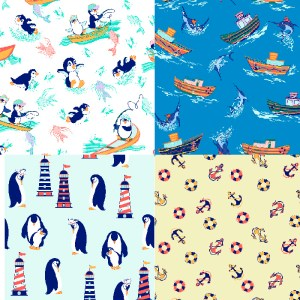 collection of patterns of penguins, fishing boats & nautical for children
